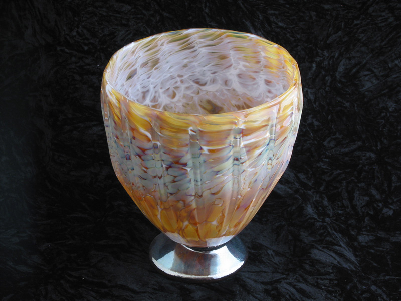 Hand blown fluted glass vase