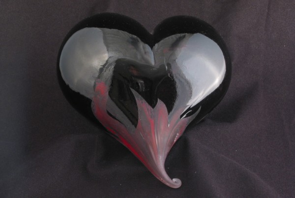 Hand blown black glass heart with red flames