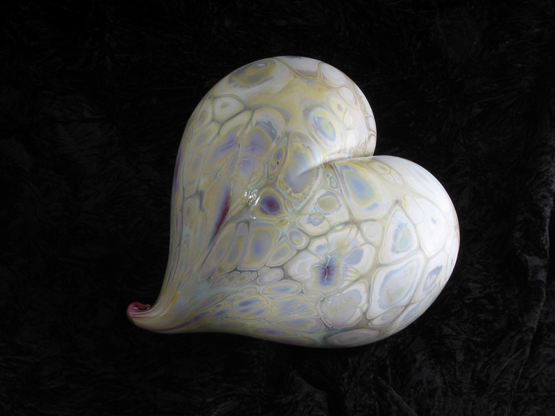 Hand blown multicolored glass heart