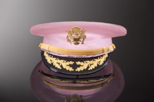 Light pink cast glass hat